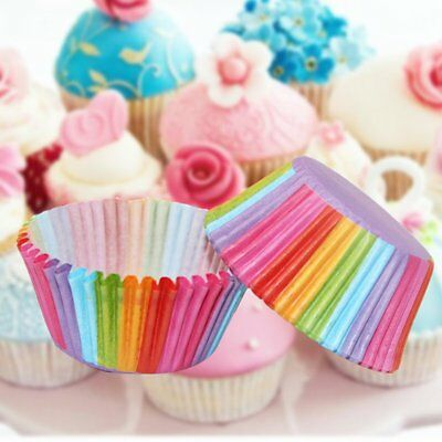 Colorful Rainbow Paper Cake Cupcake Liners Baking Muffin Cups Case Party - Cupcake Paper