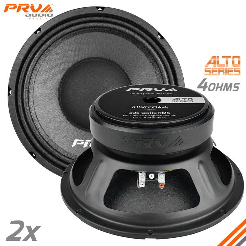 "2x PRV Audio 10W650A-4 Mid Range ALTO Car Stereo 10"" Speaker 4 Ohm 10A PRO 1300W"