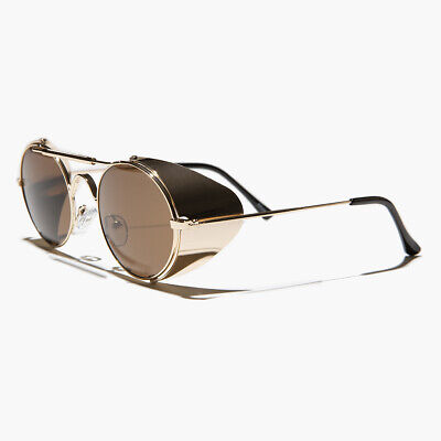 Gold Steampunk Sunglass with Folding Side Shields Brown Lens - Bram (Sunglasses With Side Lenses)