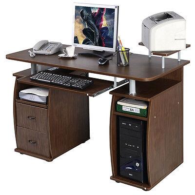 Computer Pc Desk Work Station Office Home Monitor Printer Shelf Furniture Walnut