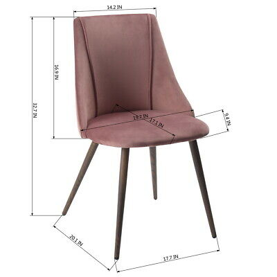 2x Dining Chairs Velvet Fabric Cushion Home Kitchen Furniture Seat Modern Pink 1