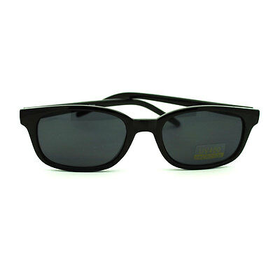 All Black Snug Fit Small Rectangular Oval Sunglasses for Small (Shades For Small Face)