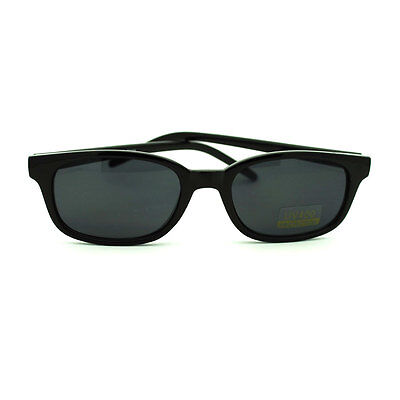 All Black Snug Fit Small Rectangular Oval Sunglasses for Small (Small Face Sunglasses)