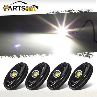 4x White 3-CREE LED 9W IP67 Rock Lights Package For Jeep Ford GMC Off-Road Boat