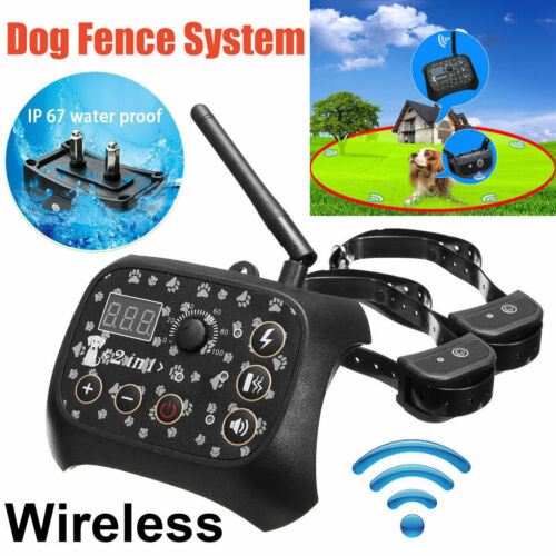 Dog Training 2 Collar Shock Fence Pet Electric Trainer Syste
