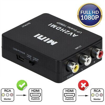 RCA to HDMI Converter Composite AV CVBS Video Adapter 720p 1080p Wii NES -