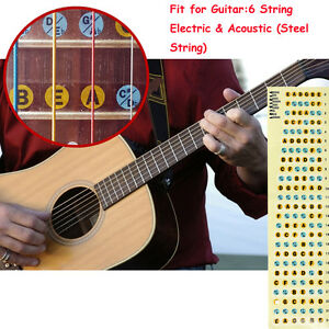 fretboard note labels fret stickers for 6 string guitar acoustic electric bass ebay. Black Bedroom Furniture Sets. Home Design Ideas