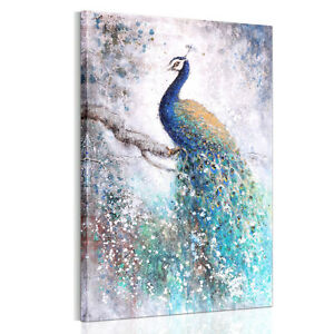 Unframed Wall Art Beautiful Peacock Canvas Prints Picture Poster Painting Uk