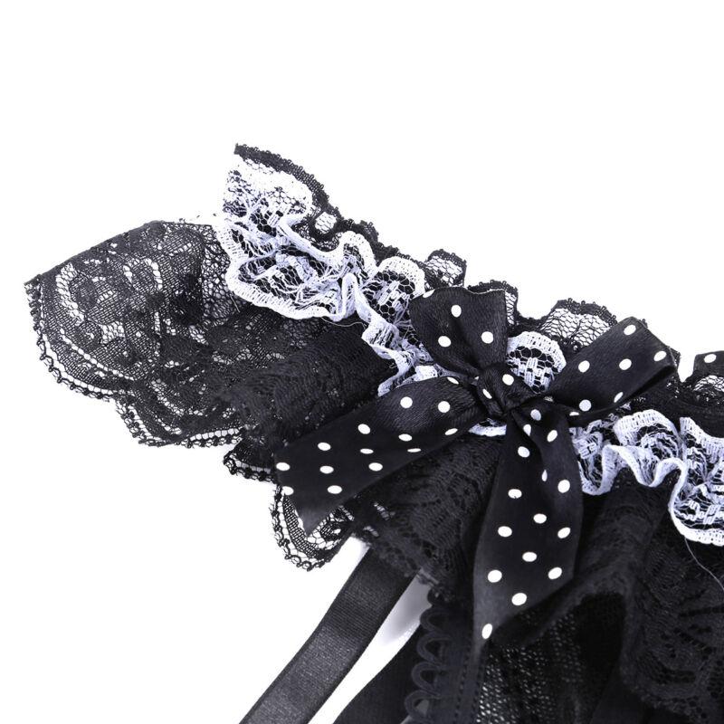 Damen Lingerie Spitze G-string Tanga Unterwäsche Ouvertslip mit Strumpfbänder