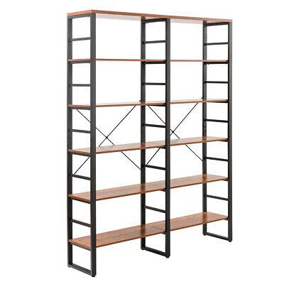 "80.7"" Double Wide 6-Shelf Bookcase Industrial Large Open Metal Storage -"