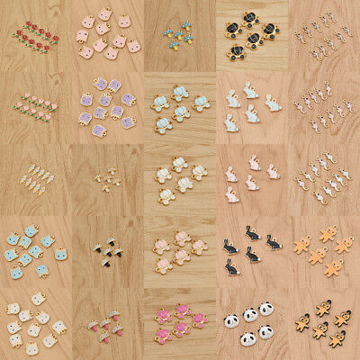 5/10pcs Cartoon Enamel Pendants Charms DIY Bracelet Necklace Jewelry Making - Necklace Making