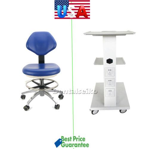Medical Dental Trolley Built-in Socket Cart/Doctor Stool Adjustable Mobile Chair