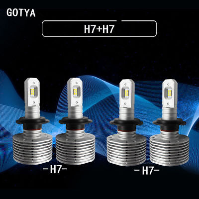 4 pcs H7 LED headlight bulbs three color change 152w 3000k and 6500k HID white
