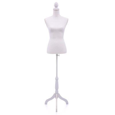 Female Mannequin Torso Dress Form Display Wwhite Tripod Stand Us Styrofoam New