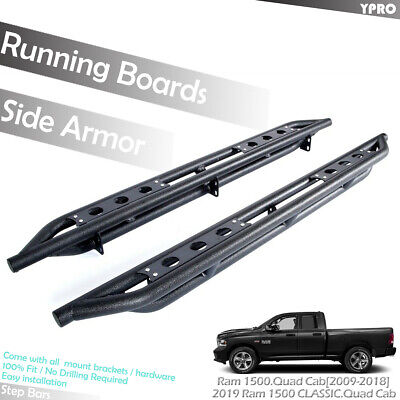 For 2009-2018 Ram 1500 Quad Cab Off-Road Armor Side Step Bars Running Boards