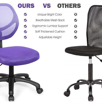 Mesh Office Chair Low-back Armless Computer Desk Chair Adjustable Home Purple