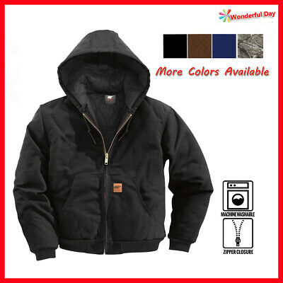 Men Sandstone Canvas Quilted Thermal Lined Active Industrial Winter Duck Jacket  ()