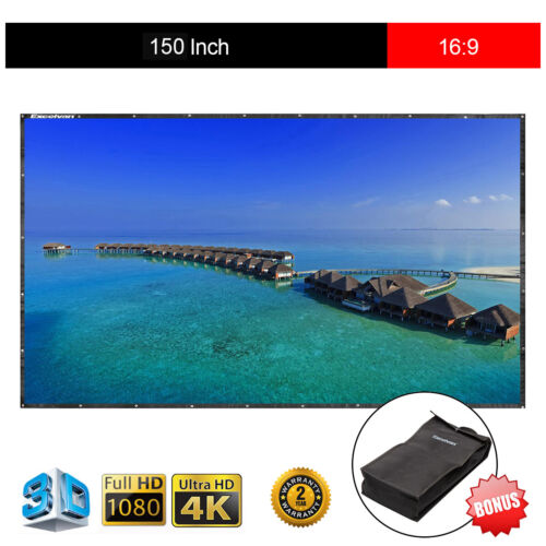 "150"" 16:9 Collapsible PVC HD Portable Projector Screen Home"