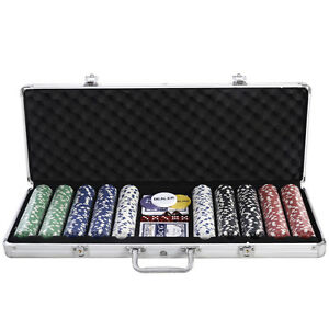 Goplus 500 Chips Poker Dice Chip Set Texas Hold'em Cards w/ Aluminum Case New
