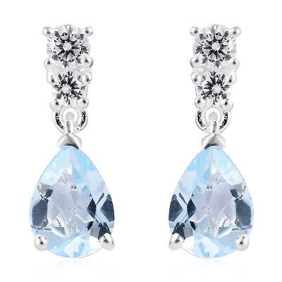 CZ Dangle Drop Earrings for Women Pear Topaz Cubic Zirconia 925 Sterling Silver