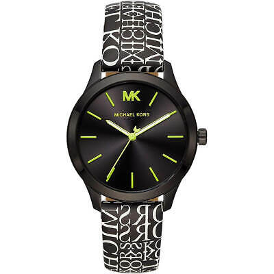 Michael Kors Women's Watch Runway Quartz Black Dial Leather Strap MK2847