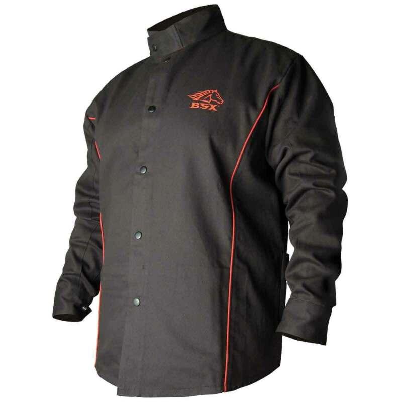 Black Stallion B9C BSX Contoured FR Cotton Welding Jacket, Black/Red, Large