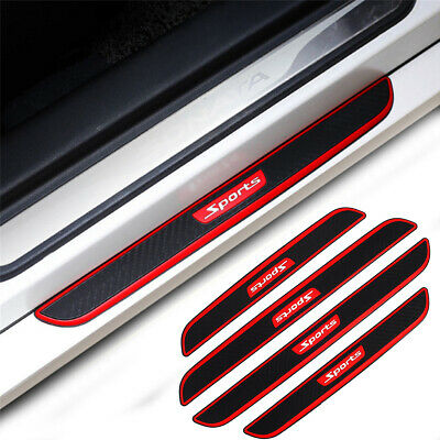 Carbon Fiber Car Door Welcome Plate Sill Scuff Cover Decal Sticker Black + Red