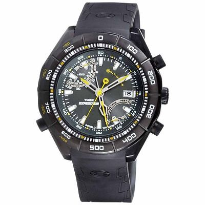 NEW TIMEX EXPEDITION E-ALTIMETER CHRONOGRAPH,INDIGLO BLACK RUBBER WATCH-T49795