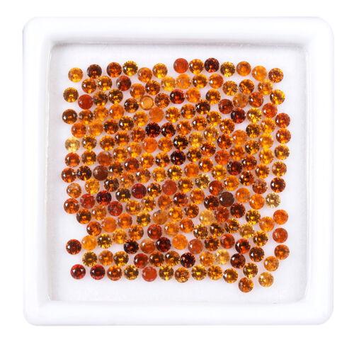 200 Pcs Natural Hessonite Garnet 2mm Round Cut Sparkling Loose Gemstones Lot