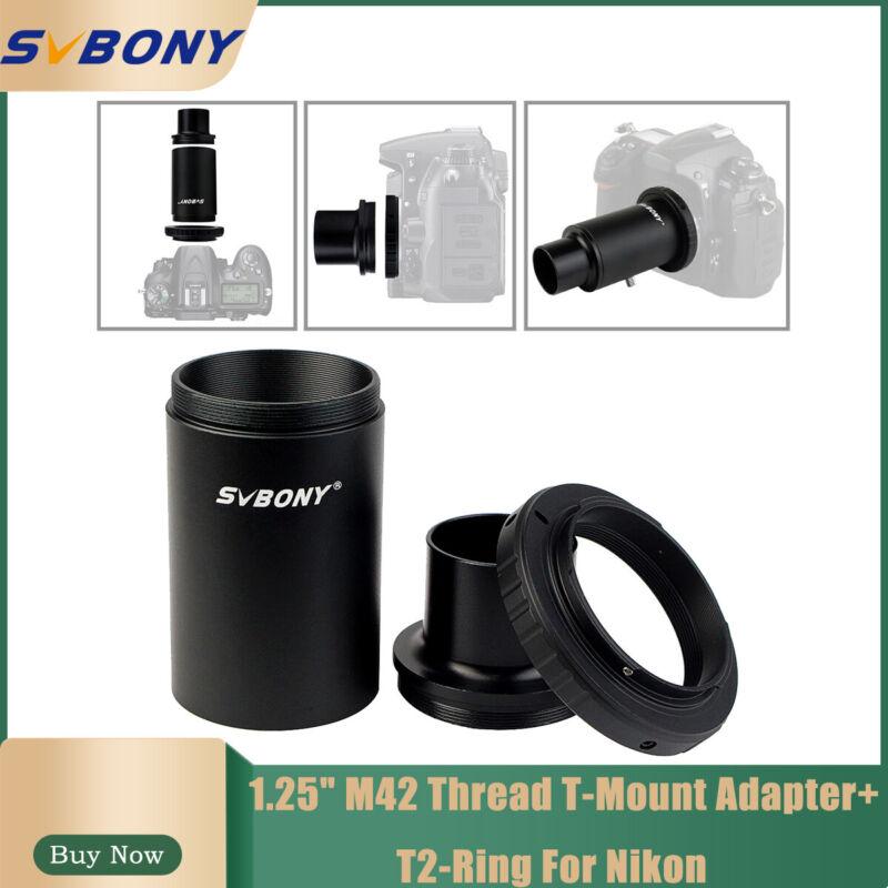 """SVBONY 1.25""""M42 Thread T-Mount Adapter+T2-Ring For Nikon DSLR/SLR Lens Telescope"""