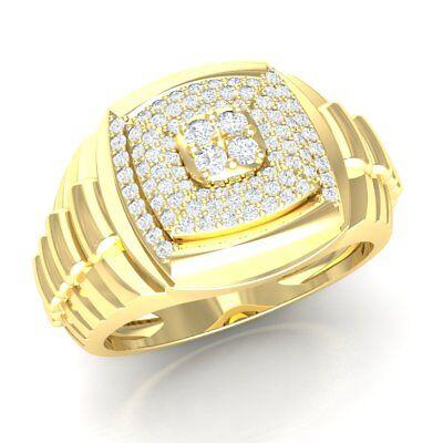 0.75ct Round Cut Diamond 18K Yellow Gold Anniversary Engagement Ring Men's Rolex