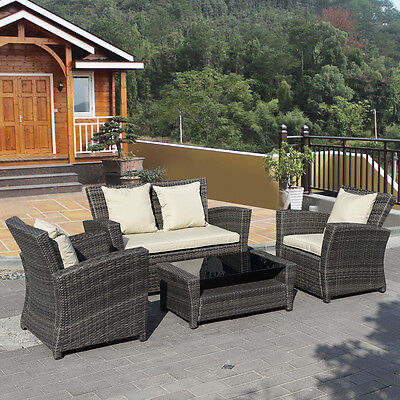 Garden Furniture -  4 PCS Brown Wicker Cushioned Rattan Patio Set Garden Lawn Sofa Furniture Seat