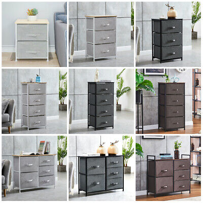 2/3/4 Tier Storage Cabinet w/ Drawer Dresser Tower Chest Fabric Home Furniture