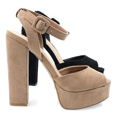 Tournament04m Womens Chunky Block Heel Platform Dress Sandal W Peep Toe