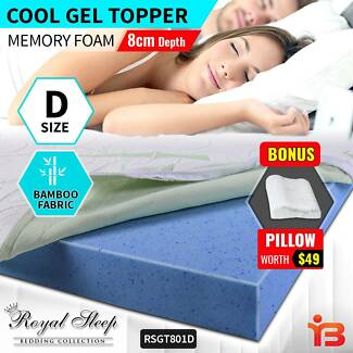 Shop D Sized Cool Gel Memory Foam Topper Fabric Cover with Pillow