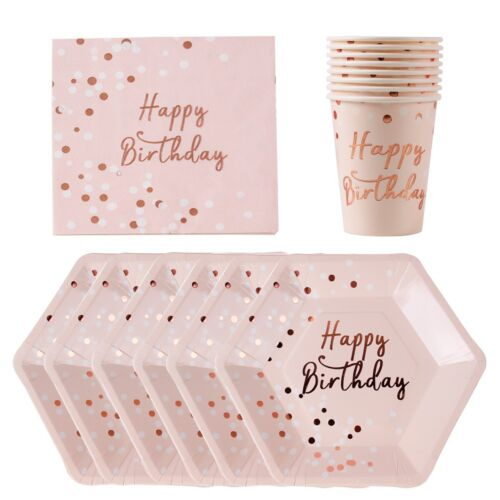 Rose Gold Paper Plates Cup Tableware Set Birthday Party Wedding Decor Supplies