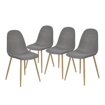 4PCS Upholstered Dining Side Chair Grey Fabric Seat Metal Leg with Oak Wood PVC for sale  Canada