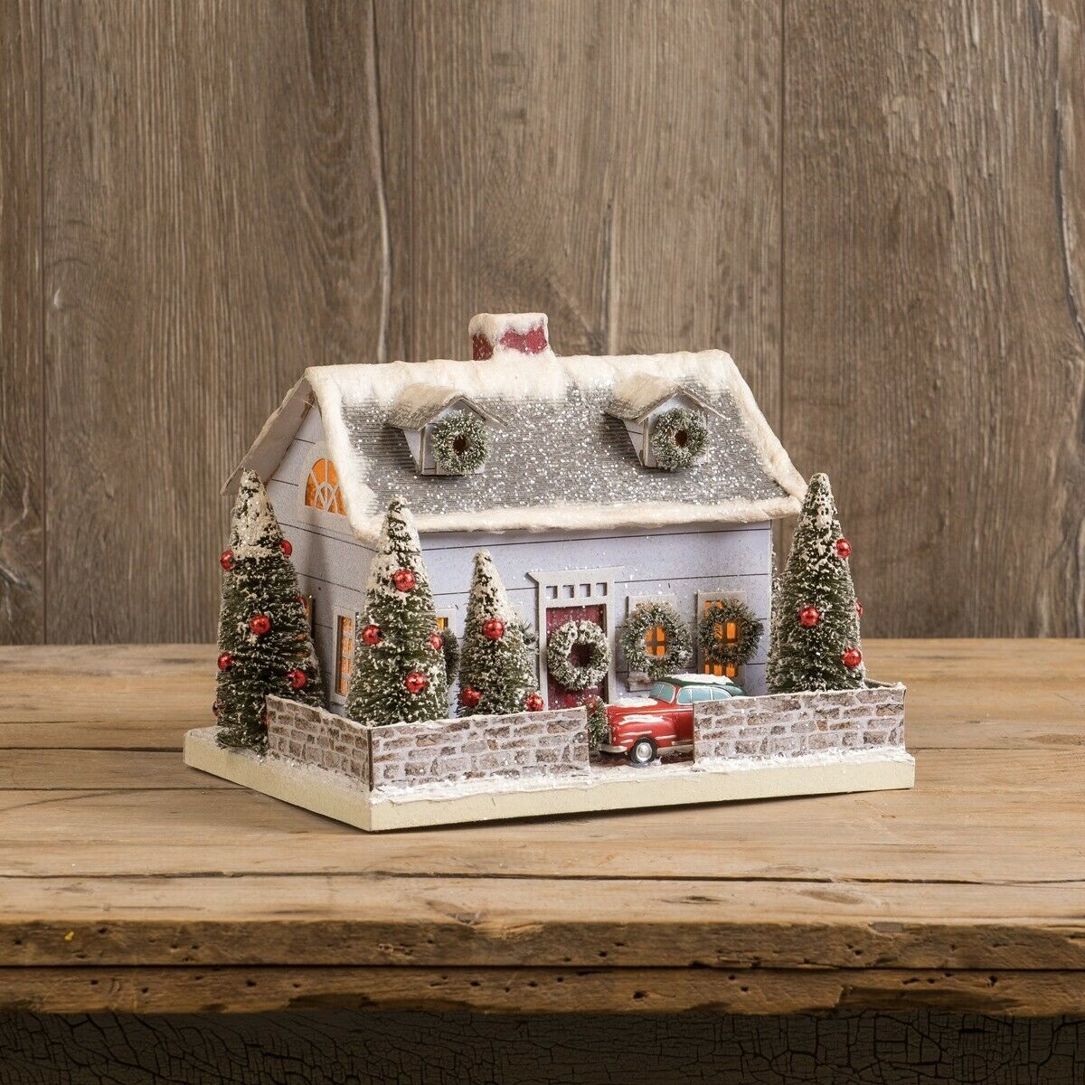 Primitive// Country Christmas Lighted Mini Wood Houses 2 sizes
