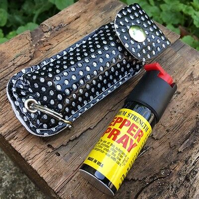 Personal Pepper Spray 18% Self Defense Mase 1/2 oz Keychain/Black Bling Case -M