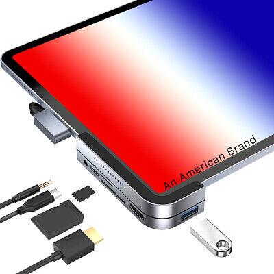 USB C Hub iPad Pro 2020, 2018 MacBook Pro 4K HDMI, 3.5mm Jack, Micro SD/SD