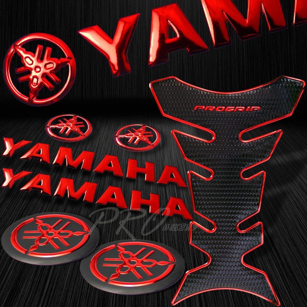 "CHROME//BLACK PRO GRIP FUEL TANK PAD+6/"" YAMAHA LOGO+YZF-R1 FAIRING EMBLEM STICKER"