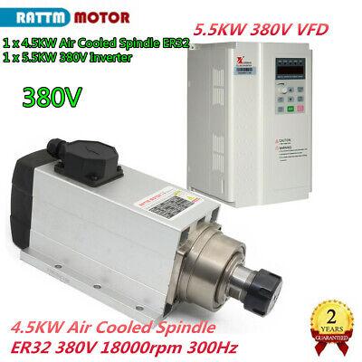 4kw Er32 Air Cooled Spindle Motor 380v 18000rpm 300hz5.5kw Inverter Vfd Cnc Kit
