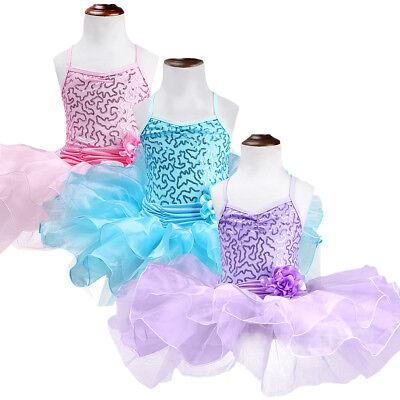 Ballerina Costume for Kid Girl Sequin Dance Gymnastic Ballet Leotard Tutu Dress - Ballerina Costume For Kids