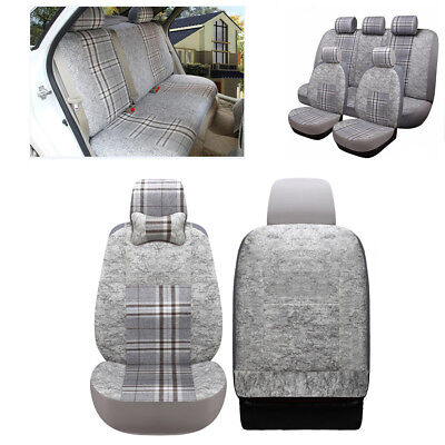 Full Set 5 Seater Car SUV Seat Cover Polyester Fiber+ Flax Fabrics Concise Style
