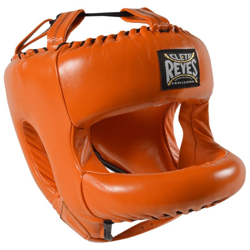 Cleto Reyes Redesigned Leather Boxing Headgear w/ Nylon Face Bar - Tiger Orange