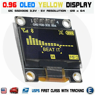 0.96 Yellow Color I2c Iic 128x64 Led Oled Lcd Display Module Arduino Ssd1306