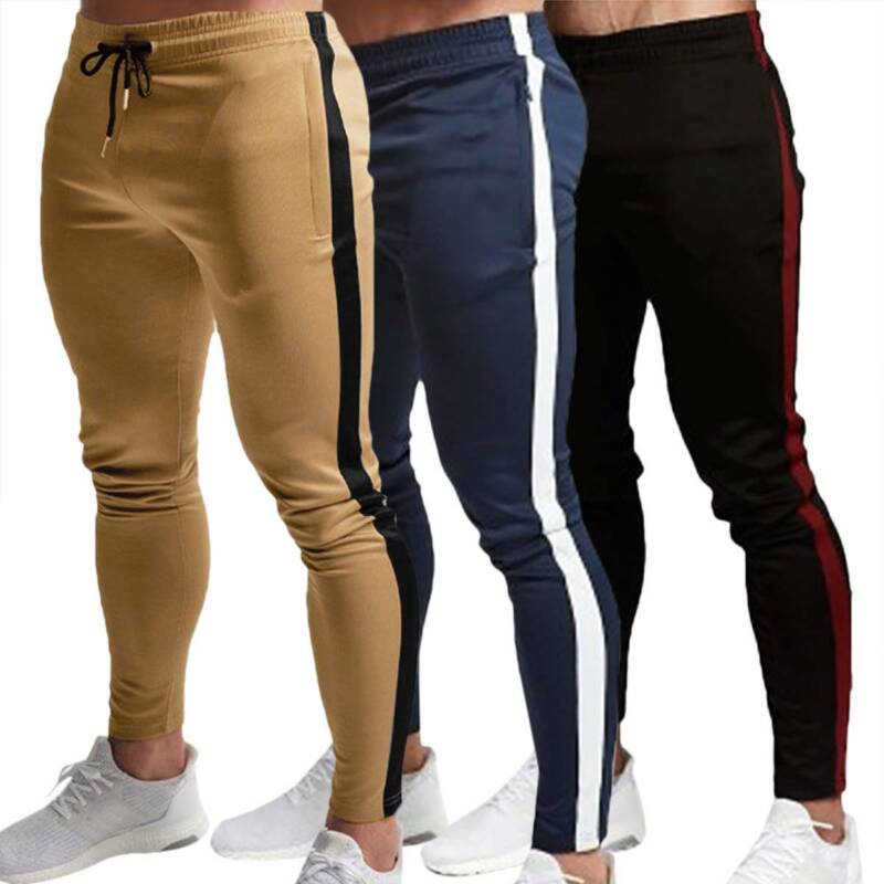 Mens Skinny Workout Gym Joggers Pants Slim Fit Casual Sweatp