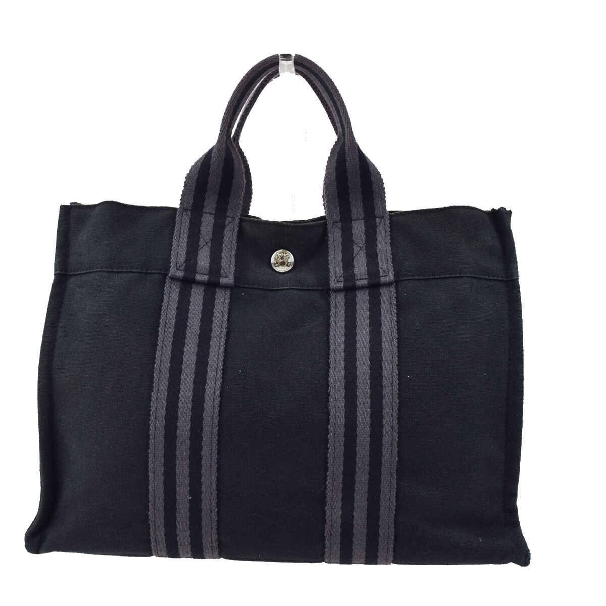 Authentic HERMES Logos Fourre Tout PM Hand Tote Bag Canvas Black France 03W645