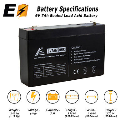 New 6Volt 7AH Sealed Lead Acid  Battery with F1 Terminal