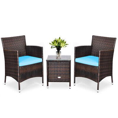 Garden Furniture - Outdoor 3 PCS Rattan Wicker Furniture Set w/2 Chairs Coffee Table Garden Blue